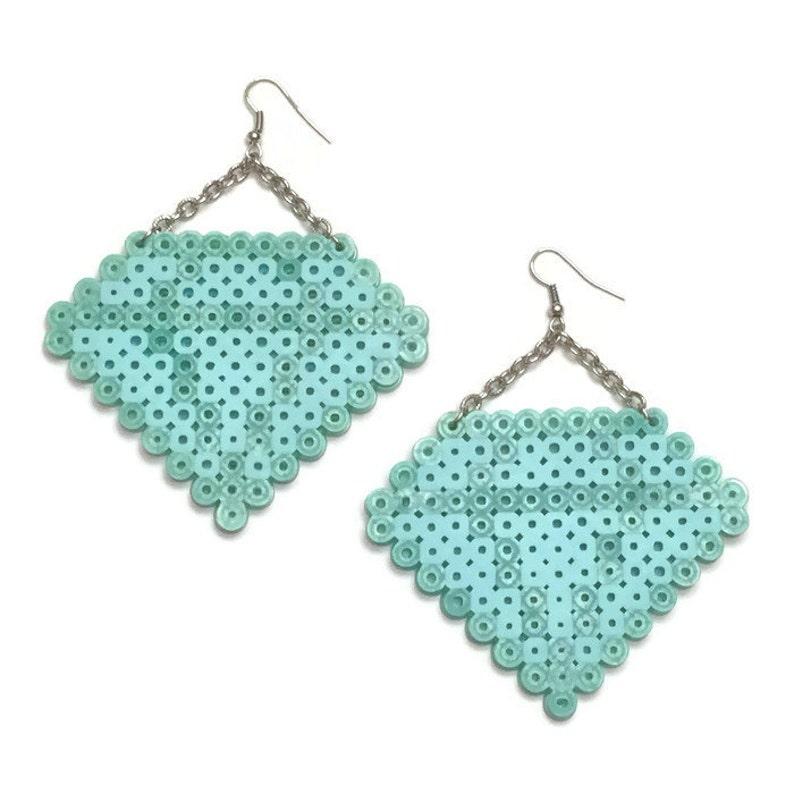 Diamond Emoji Earrings - Perler Beads, Hama Beads, Fuse Beads, Pixel  Earrings, Emoji Earrings, Kewlery, Retro Earrings