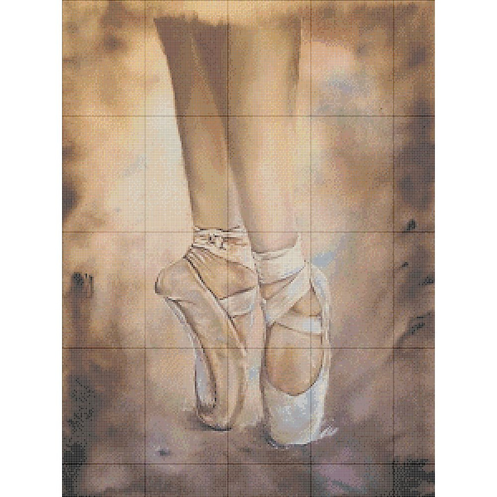 ballet shoes cross stitch chart / pattern - high quality cross stitch chart / pattern, original art by caroline lord o'donov