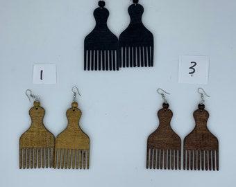 Painted Wood Comb Earrings Wood Earrings Wooden Comb Earrings Comb Earrings Wood Jewelry Painted Wood Earings