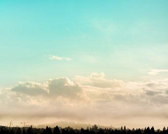 Skyline Landscape Photography, Aqua Sky Photo, Fluffy White Clouds, Tree Silhouette