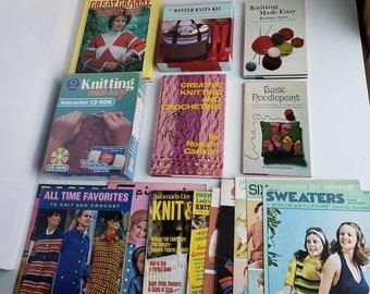 Lot of Knitting, Crocheting, and Needlepoint Books, Magazines + Knitting Made Easy CD-Rom + Winter Knits Kit Vintage Bernat, Bear Brand etc.