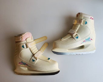 Vintage 90's Lange Freestyle Ice Skates Women's Size 8 Made in Canada Hot Pink Teal White
