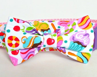 Summer Fun fabric bow tie ONLY for dog/cat collars