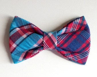 Turquoise Plaid Dog Bow Tie, pet bow tie, collar bow tie, wedding bow tie