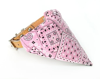 Pink Dog Bandana, Dog Scarf, no tie bandana, slip on bandana, pet bandana, doggy scarf , scarf for dogs