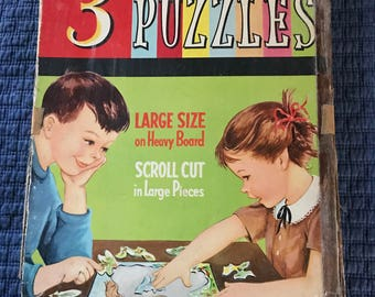Vintage 1960's  (3) Frame Tray Puzzles by Whitman Publishing
