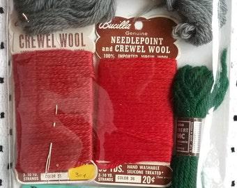 Crewel Wool, Embroidery Wool, Bucilla Wool, Patons Tapestry Wool, DMC Tapestry Wool, Bernat Embroidery Wool, Vintage Crewel Embroidery Wool