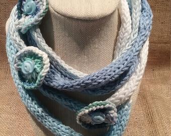 Boho Infinity Scarf, Bohemian Necklace, Blue Handknit Neckwear, Cotton, Blue Knit Scarf, Neck Wrap, Artisan Scarves, Unique Scarf, OOAK