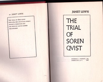 Trial of Soren Qvist, Vintage books, Soren Jensen Qvist, Janet Lewis, 1947, Denmark, Historical Novel, Gift for Reader, Danish Literature