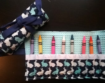 Kid's Crayon Rollup, Travel Crayon Roll, Kid's Travel Activities, Crayon Case, Crayon Holder, Fabric Crayon Holder, Easter Basket Stuffer