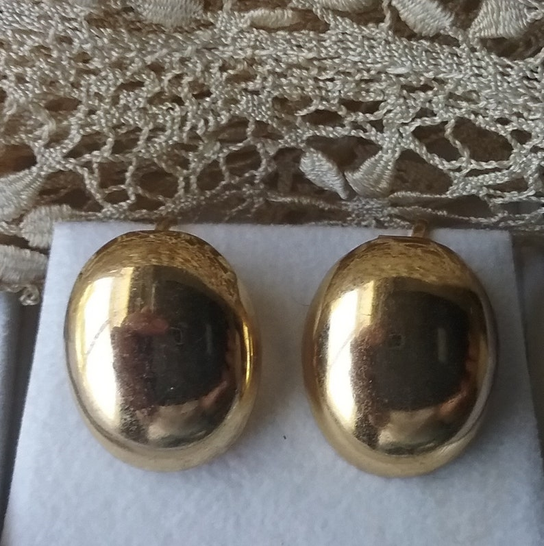 1950s Costume Jewelry Birthday Gift for Her Classic Glamor Accessories Vintage Earrings Midcentury Oval Goldtone Screwback