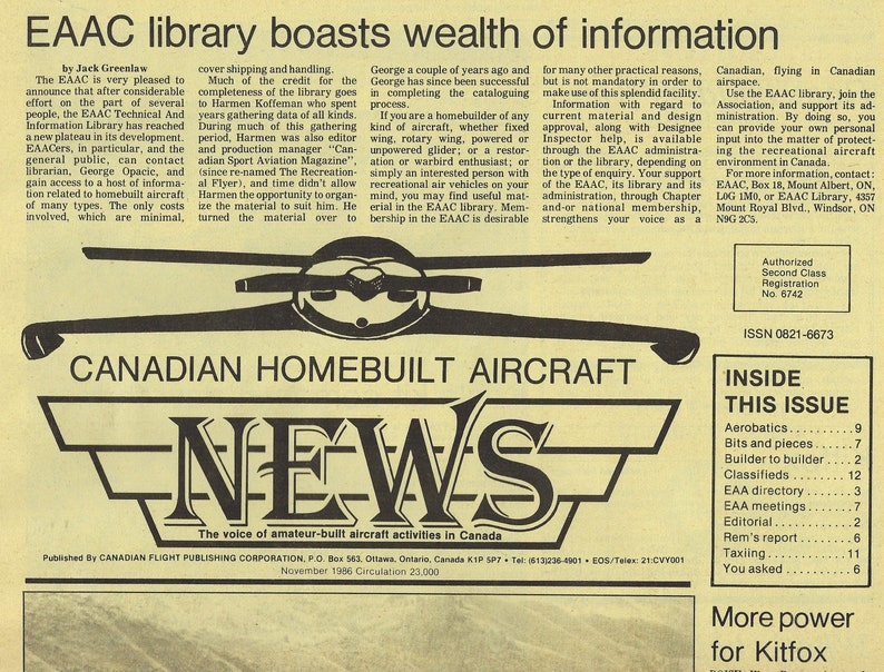 Homebuilt Aircraft & Ultralight News - The Voice of Amateur-Built Aircraft  Activities in Canada
