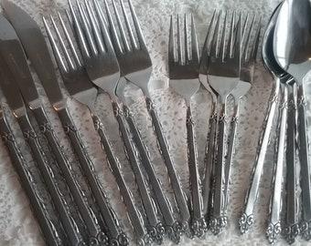 Vintage Stainless Steel Flatware, Ekco Eterna, Mary Ellen Pattern Code EKSMAE, Japan Stainless, Cutlery, Pre-Owned, 1970s, Country Kitchen