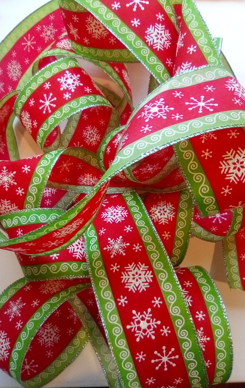 Crafts Christmas Ribbon Destash Wire Edge 20 Feet Polyester Red Green /& White Snow Flakes Design for Bows Wreaths Garlands Gift Wrap