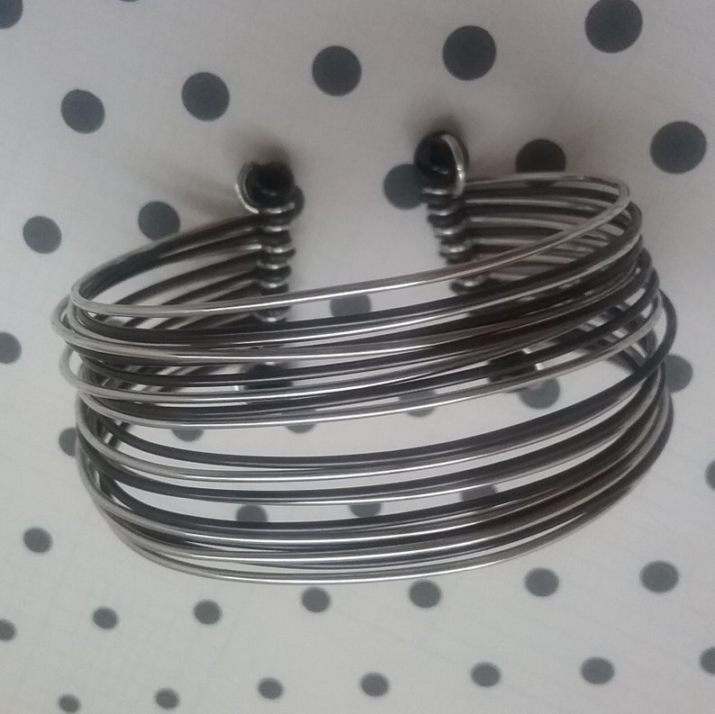 19 Rings of Silver /& Black Metal with Black Beads Vintage Wide Wrist Bangle Gypsy or Hippy Style Costume Jewelry Boho Cuff Bracelet