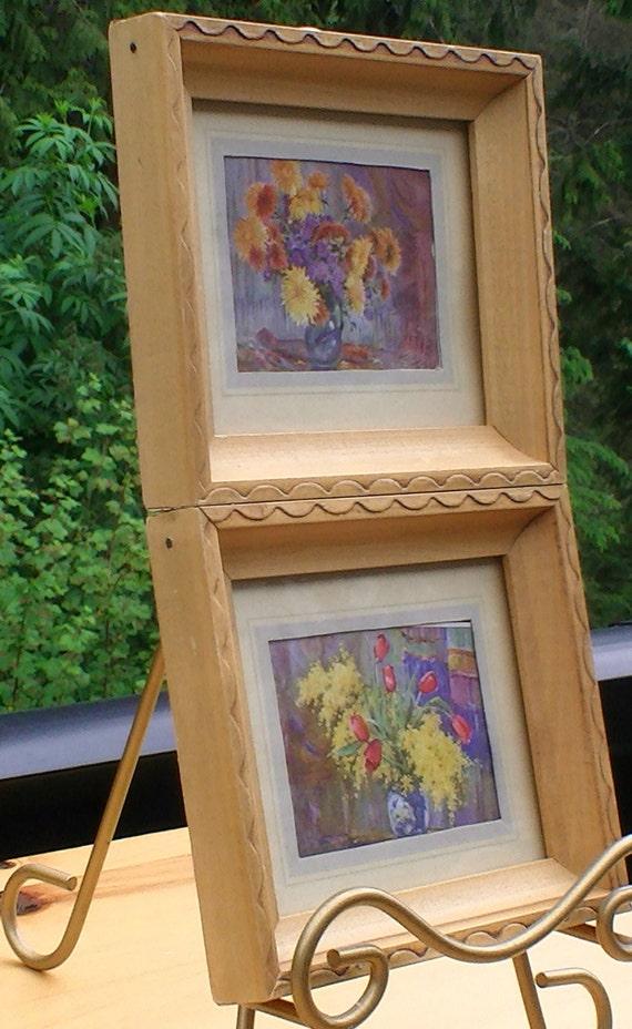 Aquarell Gemälde gerahmt Blumendrucke Set bestehend aus 2 | Etsy