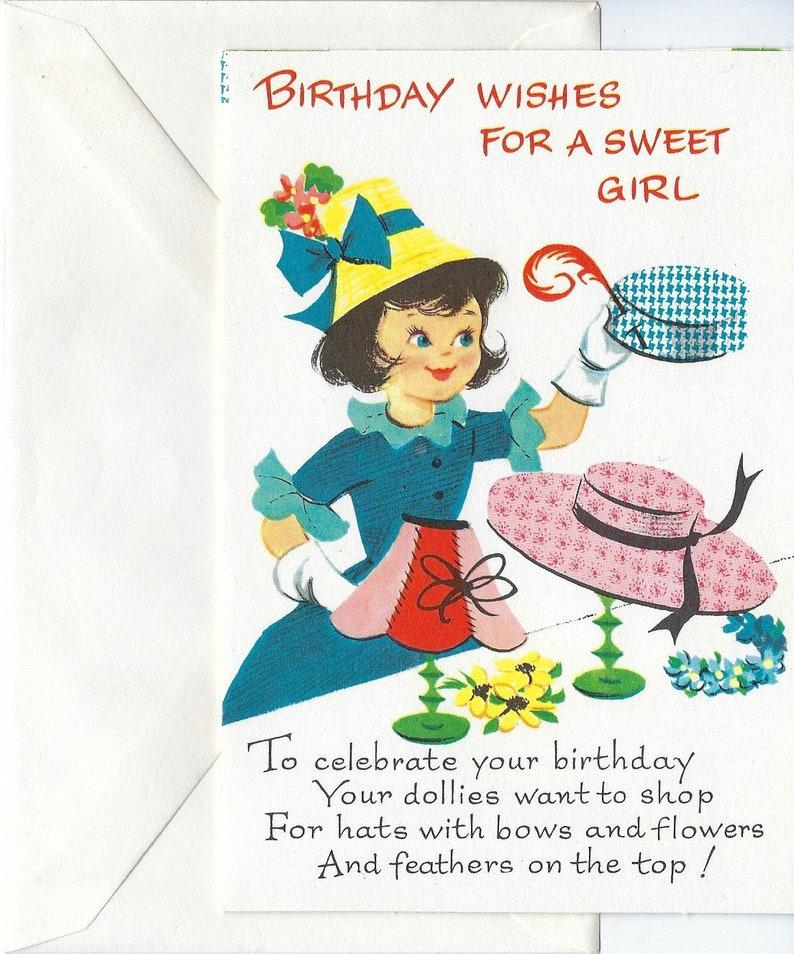 Happy Birthday Sweet Girl Vintage 1950s Birthday Wishes With Etsy