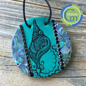Polymer Clay Pendant Handmade Jewelry Jellyfish Unique Design Faux Abalone Ocean Beach Vacation Jewelry, Jewelry Tropical Sea