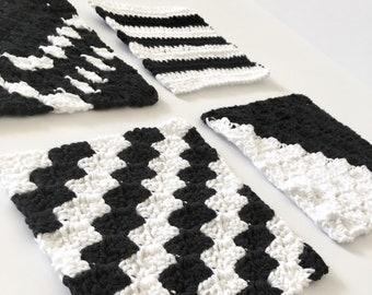 Modern Washcloth Set - Modern Crochet Dishcloth Set - Cotton Dishcloth - Knit Washcloth - Kitchen Decor - Housewarming Gift