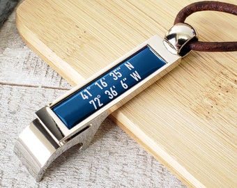 Coordinates Bottle Opener Keychain - Latitude, Longitude GPS Coordinates Bottle Opener - Bottle Opener Gift For Men