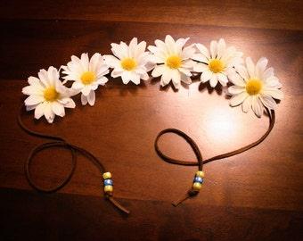 Beaded Daisy Flower Headband