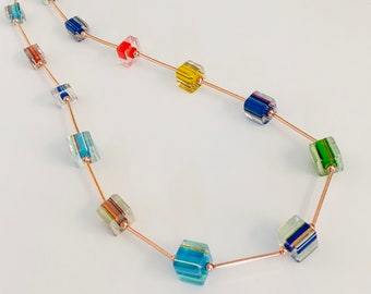 Rainbow Cane Glass Cube and Copper Necklace