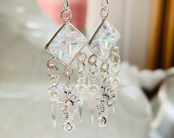 Sterling Silver Cubic Zirconia Seahorse Earrings with Pearl Accents