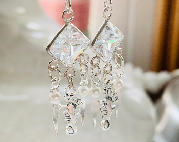 Featured listing image: Sterling Silver Cubic Zirconia Seahorse Earrings with Pearl Accents