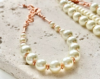 Cream pearl bracelet and necklace set (may purchase separately or together)