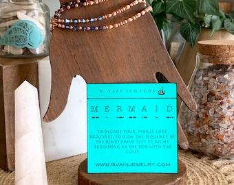 MERMAID Swarovski Crystal Morse Code Bracelet with Shell Charm