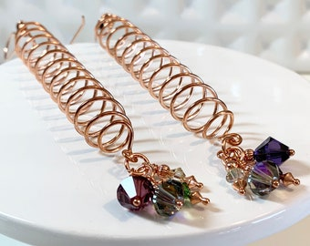 Long Spiral Copper Earrings with Swarovski Crystals
