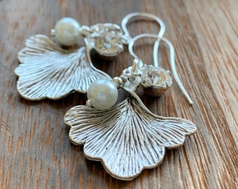 Silver Ginkgo Leaf Earrings with Swarovski Crystals and Pearls