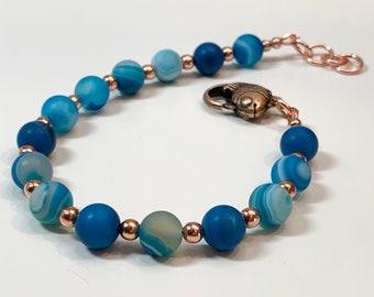 Blue Agate Fishy Fish Mens Bracelet