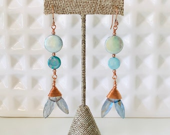 Blue Mother of Pearl Mermaid Tail Earrings