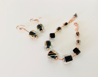 Colorful Cane Glass and Copper Bracelet and Earrings Set