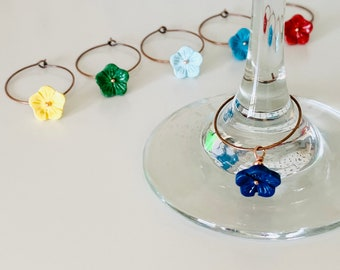 Small Flower Wine Charm Set of 6.