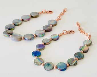 Spruce Green Mother of Pearl and Copper Bracelet