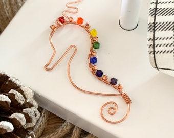 Swarovski Crystal Seahorse Ornament on Copper Wire