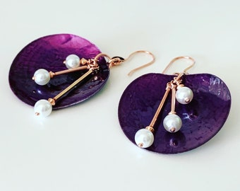 Purple Shell with Pearl Earrings