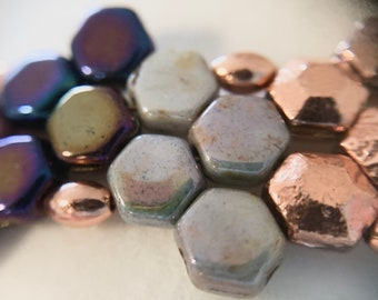 Cool Tones Honeycomb Bracelet with Copper Accnets