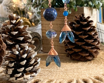 Blueberry Quartz  and Lapis Mermaid Tail Ornaments on Copper Wire