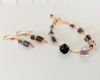 Colorful Cane Glass and Copper Bracelet and Earring Set