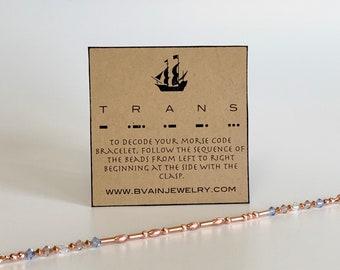 Trans Pride Morse Code Copper Bracelet