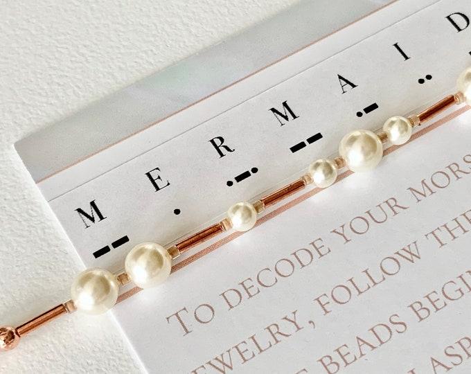 Featured listing image: Mermaid Pearl Morse Code Bracelet