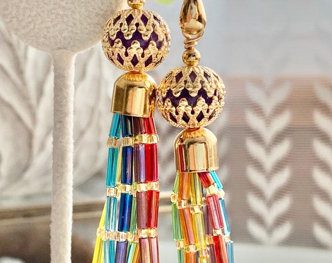 Featured listing image: Rainbow Amethyst Tassel Earrings