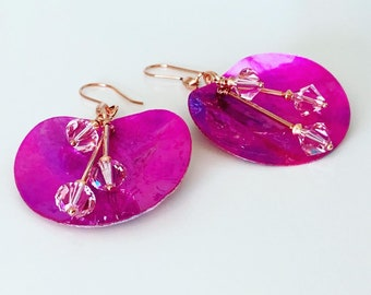 Pink Shell Swarovski Crystal Earrings