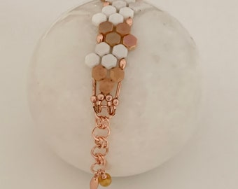 Creamsicle Honeycomb Bracelet with Copper Accents