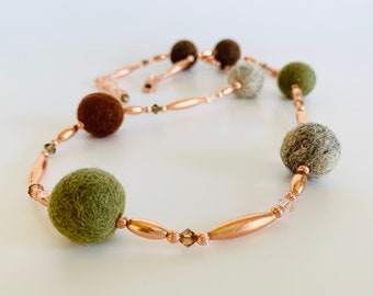 Felt and Copper Cozy Sweater Necklace