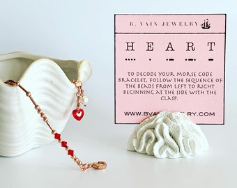 Swarovski Crystal [HEART] Morse Code Bracelet