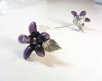 Purple Glass Botanical Earrings